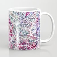 brussels Mugs featuring Brussels Map by MapMapMaps.Watercolors
