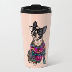 hipster frenchie Travel Mug