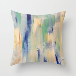 Calm blue fire: minimal, acrylic abstract art in indigo, teal and rose gold / Original Painting Throw Pillow