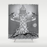 woody Shower Curtains featuring woody lighthouse by DogoD Art