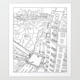 Uptown View from Above (white Tower) Art Print