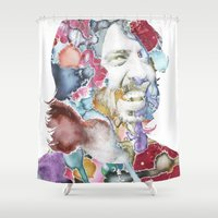 dave grohl Shower Curtains featuring Dave Grohl by Bethan Eastwood