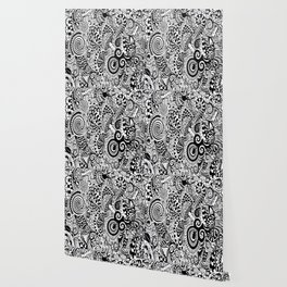 Mushy Madness doodle art Black and White Wallpaper