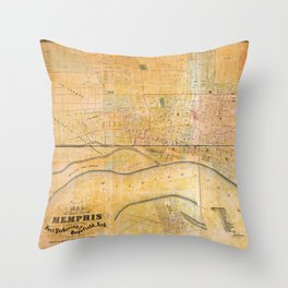 Map of the City of Memphis, Tennessee (1858) Throw Pillow
