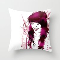 amy poehler Throw Pillows featuring Amy by Abbi Laura