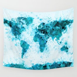 World Map Paint Splashes Blue Wall Tapestry