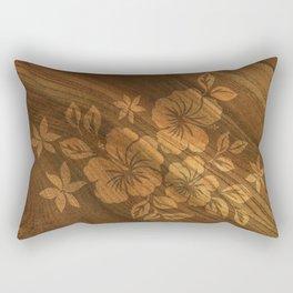 Lilikoi Hibiscus Hawaiian Textural Pareau Design Rectangular Pillow