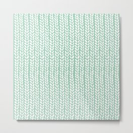 Knit Wave Mint Metal Print