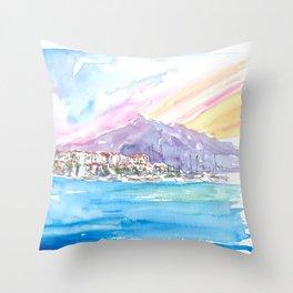 Luxury Mediterranean Harbour Of Puerto Banus Spain Throw Pillow