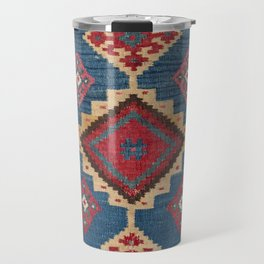 Vintage Woven Kilim II // 19th Century Colorful Royal Blue Yellow Authentic Classic Ornate Accent Pa Travel Mug