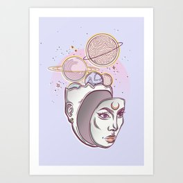 Face Falling From Space Art Print