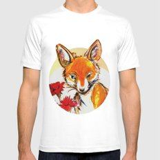 Fox in Sunset MEDIUM White Mens Fitted Tee
