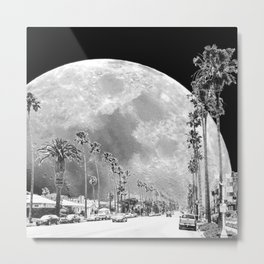 California Dream // Moon Black and White Palm Tree Fantasy Art Print Metal Print