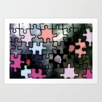 rosebuds and puzzle Art Print