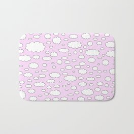 Pink sky with little clouds of caricatures Bath Mat