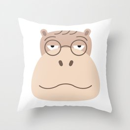 Sluggish Hippo Throw Pillow