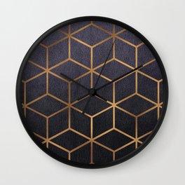 Dark Purple and Gold - Geometric Textured Gradient Cube Design Wall Clock