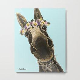 Blue Flower Crown Donkey, Donkey Art Metal Print