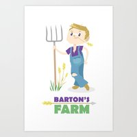 clint barton Art Prints featuring Clint Barton the Farmer by Alice Wieckowska