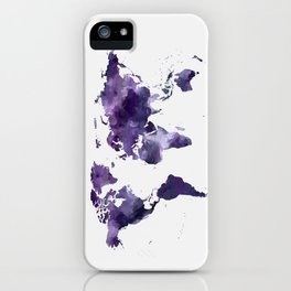 Purple World Map iPhone Case