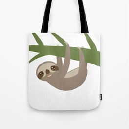 Three-toed sloth on green branch Tote Bag