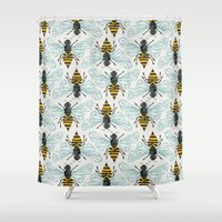 mod Shower Curtains featuring Honey Bee by Cat Coquillette