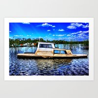 Abandoned River Boat Art Print