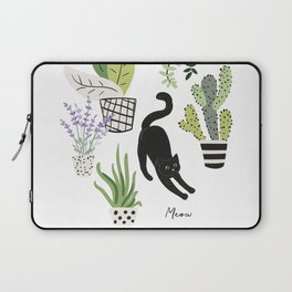 Black cat and plants in the pots. Morning stretch Laptop Sleeve
