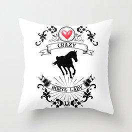 Crazy Horse Lady Riding Equestrian Girlie Rider Throw Pillow