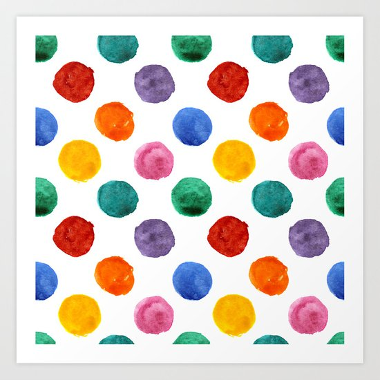 'Happiness and joy', colorful watercolor dots Art Print