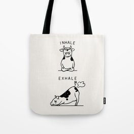 Inhale Exhale Cow Tote Bag