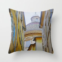 Old Nice, a wonderful city in the Blue Coast of France Throw Pillow