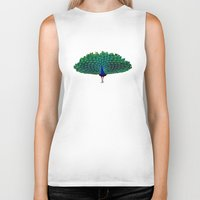 peacock Biker Tanks featuring Peacock by Whimsy Notions Designs