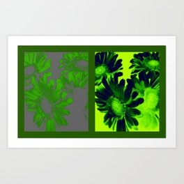 Suga Lane Deviant Floral in Green & Gray Duality Print Art Print
