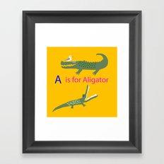 A is for Aligator Framed Art Print