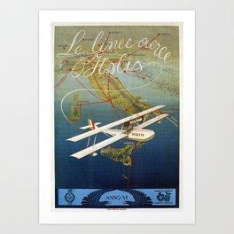 Vintage 1920s Island plane shuttle Italian travel Art Print