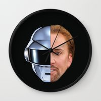 nicolas cage Wall Clocks featuring Daft Cage by Jared Cady