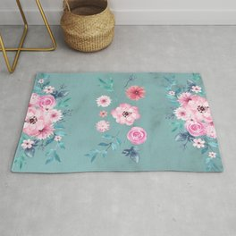 Watercolor Flowers on Limpet Shell Marble Rug