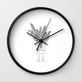 Flowers For You Ink Drawing Wall Clock