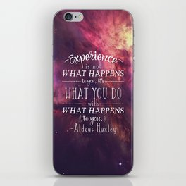 """Aldous Huxley Quote Poster - """"Experience is not what happens to you..."""" iPhone Skin"""