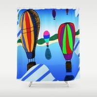 hot air balloons Shower Curtains featuring Hot Air Balloons by Joynisha Sumpter