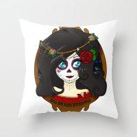 dia de los muertos Throw Pillows featuring Dia de Los Muertos by Lilolilosa