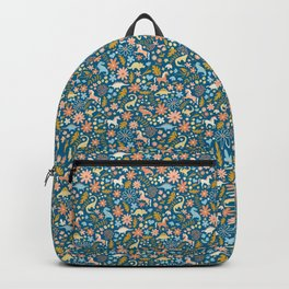 Dinosaurs + Unicorns in Blue + Coral Backpack