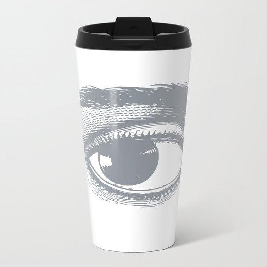 I see you. Gray on White Metal Travel Mug