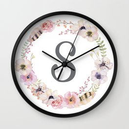 Floral Wreath - S Wall Clock