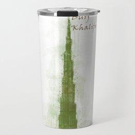 Burj Khalifa, Dubai, Emirates in WaterColor Green Travel Mug
