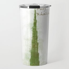 Burj Khalifa, Dubai, Emirates in WaterColor Green Travel Mug