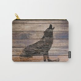 Rustic Wolf Silhouette A383 Carry-All Pouch