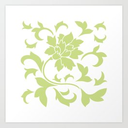 Oriental Flower - Daiquiri Green On White Background Art Print