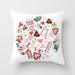 Circle composition of Valentine's Day theme doodle elements. Throw Pillow